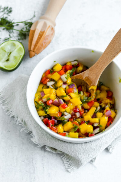 A bowl filled with Mango Pico
