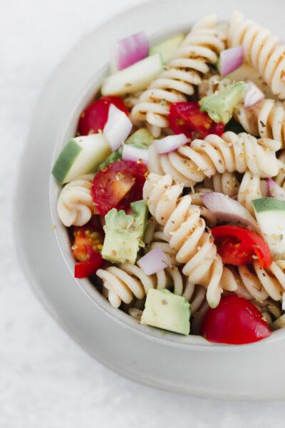 A bowl of Gluten Free Italian Pasta Salad