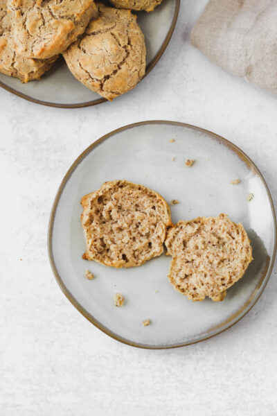 Easy Paleo Drop Biscuit cut open on a plate