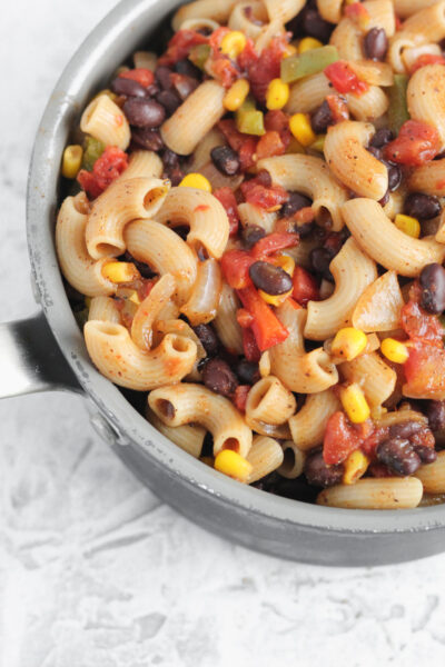 A pot filled with Gluten Free One Pot Mexican Pasta
