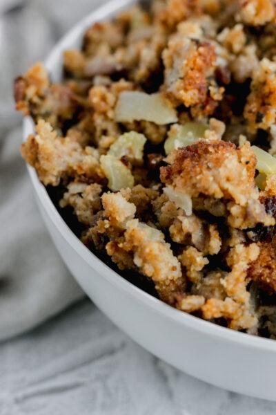 A bowl of gluten free cornbread dressing