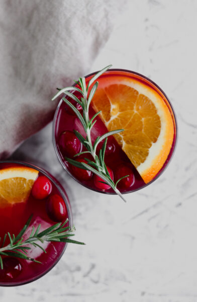 a overhead view of Cranberry Orange Holiday Sangria