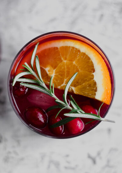 an overhead view of Cranberry Orange Holiday Sangria